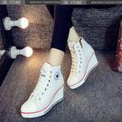 坡跟休閑帆布鞋內增高厚底高幫鞋女鞋