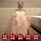 【易立家Easy+】活動毛巾環 浴巾環 擦手巾架 抹布架 無痕掛勾銀色貼片