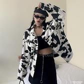 牛仔外套復古港風chic2021新款韓版寬鬆奶牛印花牛仔長袖外套女bf風上衣潮 非凡小鋪