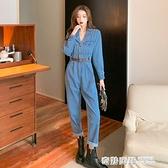 2021新款時尚小翻領氣質百搭純色高腰直筒工裝連身褲套裝女潮 奇妙商鋪