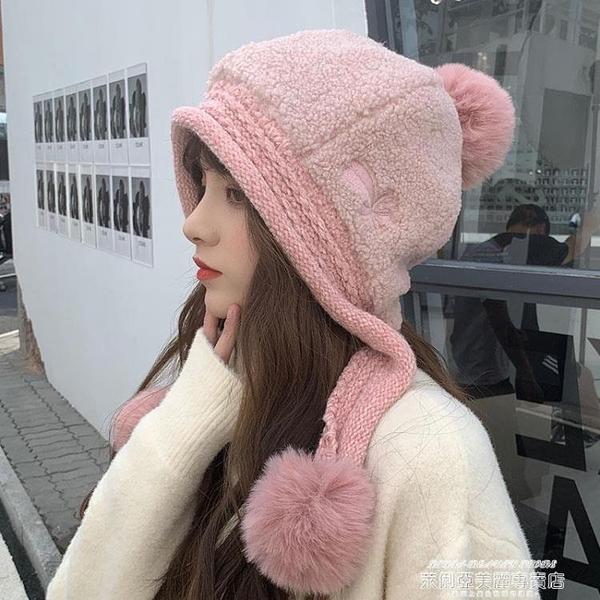熱賣針織帽 冬季騎電動車棉帽女秋冬防寒保暖可愛羊羔絨針織護耳毛線帽子 夏季新品