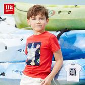 JJLKIDS 男童 藝術拼布鳳梨造型純棉短袖上衣 T恤(2色)