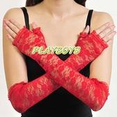 手套 開指蕾絲花紋手套(紅)-長-玩伴網【滿額免運】