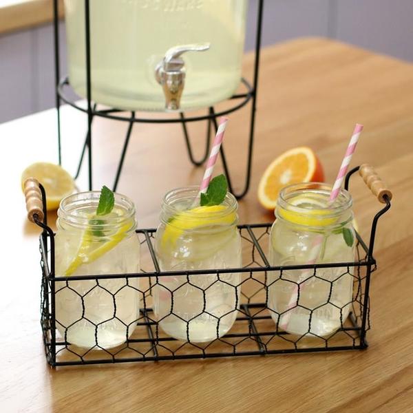梅森杯收納架 Mason Jar三只裝 鐵藝提手