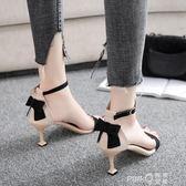 涼鞋2019新款女夏季高跟貓跟中跟一字帶黑色細跟韓版百搭學生鞋子  【PINK Q】