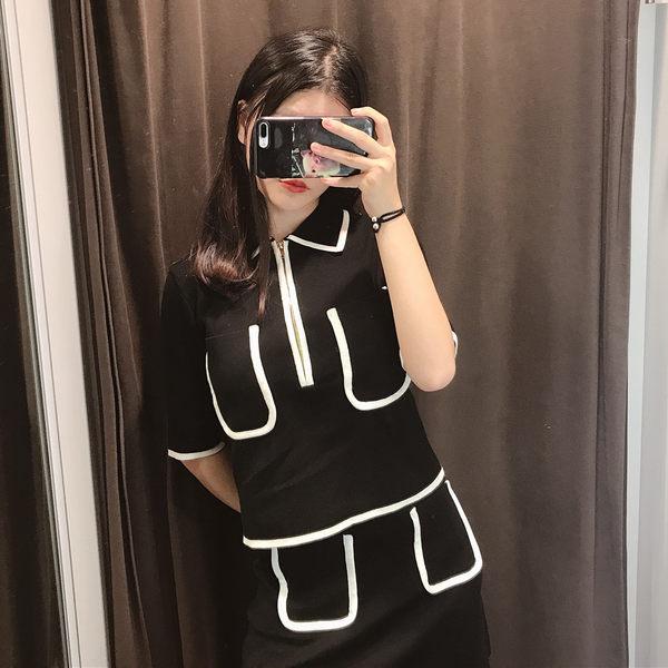 VK旗艦店 韓系時尚撞色領針織上衣半身裙套裝短袖裙裝