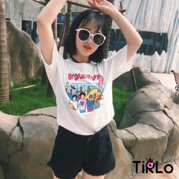 T袖 -Tirlo-日系詼諧漫畫感圓領短袖T-兩色(現+追加預計5-7工作天出貨)