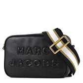 美國正品 MARC JACOBS 浮雕LOGO牛皮拉鍊寬背帶相機包-黑色【現貨】