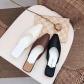 外穿涼拖鞋子懶人尖頭低跟平底穆勒鞋包頭半拖鞋女2019夏新款時尚
