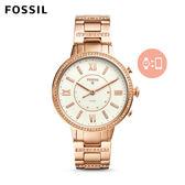 FOSSIL Q Virginia 玫瑰金晶鑽不鏽鋼指針式智慧手錶 女
