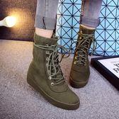 秋冬平底短靴 系帶磨砂絨面馬丁靴《小師妹》sm205