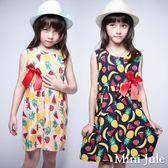 Mini Jule 女童 洋裝 盛夏水果印花蝴蝶結無袖洋裝(共2色) Azio Kids 美國派 童裝