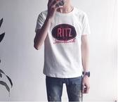 找到自己 MD 韓國 潮 男 時尚 休閒 RITZ字母印花 短袖T恤 學生短T 短袖上衣 特色短T