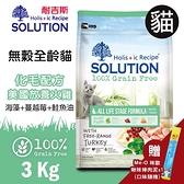 PRO毛孩王 耐吉斯SOLUTION 超級無穀 全齡貓化毛配方 美國放養火雞肉3kg(隨機贈咪歐貓肉泥*1條)