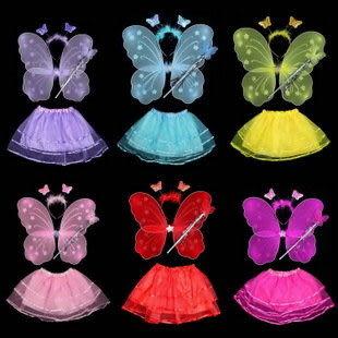 兒童表演道具  單層蝴蝶翅膀加網紗裙四件套