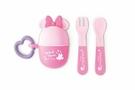 日本 迪士尼 Disney 米妮攜帶餐具叉子+湯匙組 附收納盒~粉