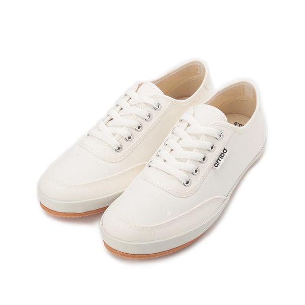 ARRIBA 綁帶素面帆布鞋 白 AB-8086 女鞋 鞋全家福