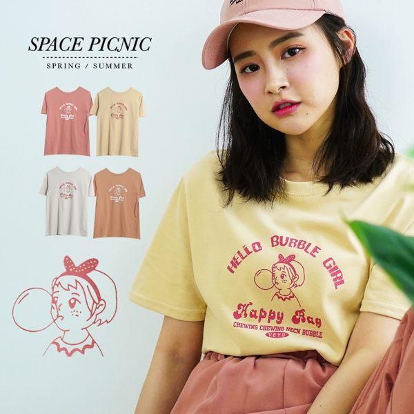 短袖T Space Picnic|泡泡女孩印圖短袖上衣(現貨)【C19031049】