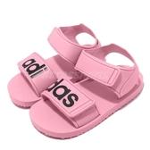 adidas 涼鞋 Beach Sandal I 粉紅 黑 魔鬼氈 涼拖鞋 基本款 童鞋 小童鞋【PUMP306】 CG6602