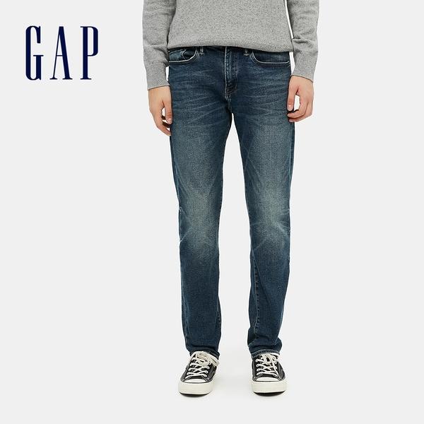 Gap男裝 時尚中腰貓須紋五袋牛仔褲 604022-藍色