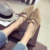 韓版學生淑女鞋絨面尖頭平底鞋女淺口平跟大碼單鞋    琉璃美衣