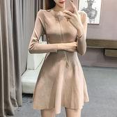 現貨-洋裝-連身針織拉鍊衣領設計長袖中長裙Kiwi Shop奇異果1214【SZZ8473】