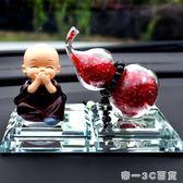 創意汽車擺件車內飾品可愛卡通公仔車載小和尚保平安水晶葫蘆精品【帝一3C旗艦】