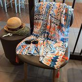 幾何棉麻防曬沙灘巾海邊度假旅游大披肩圍巾 ☸mousika