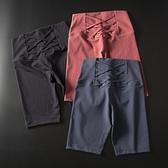 運動五分褲女歐美蜜桃提臀緊身速幹跑步健身高彈瑜伽中褲跑步短褲 黛尼時尚精品
