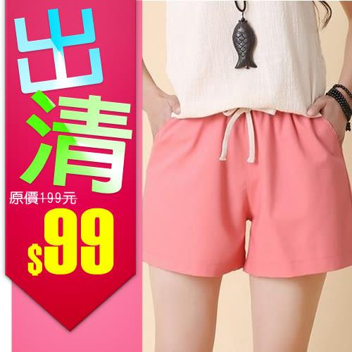 【出清下殺】百搭寬鬆棉麻運動褲 短褲(M)