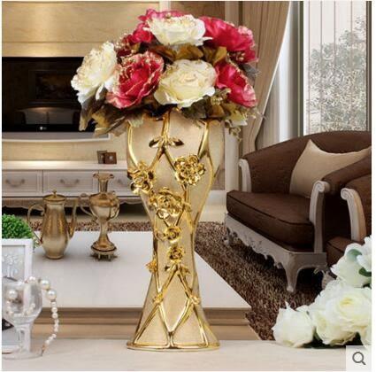 歐式陶瓷落地花瓶花插家居裝飾品擺件電視櫃客廳擺設工藝品 大號