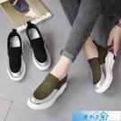 絨面女樂福鞋2020秋季新潮款低幫鞋版時尚學生圓頭中跟內增高單鞋 漫步雲端