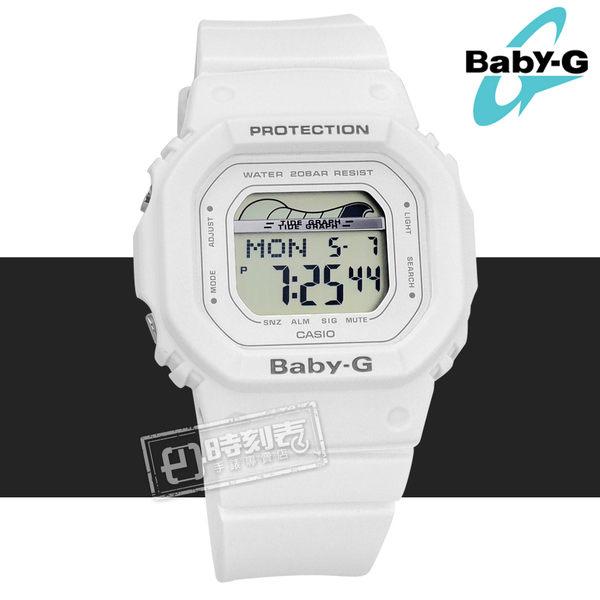 Baby-G CASIO / BLX-560-7 / 卡西歐 電子數位 潮汐圖 計時碼錶 防水200米 運動 橡膠手錶 白色 40mm