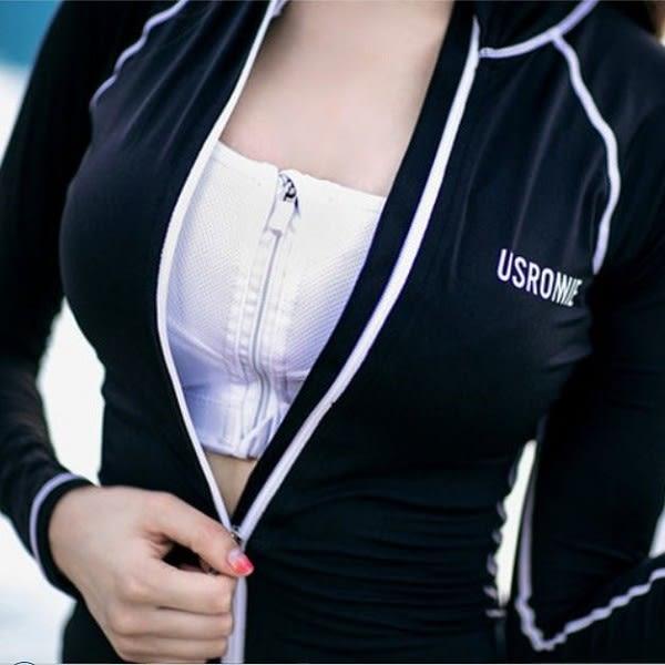 梨卡★現貨 - 韓國甜美[美胸有胸墊+長袖防曬顯瘦]字母三件式拉鍊外套泳衣-潛水衣比基尼泳裝CR110