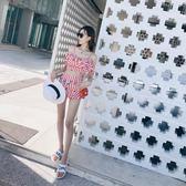 泳衣女分體裙式保守學生韓國清新小胸聚攏遮肚荷葉邊平角褲游泳衣