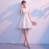 禮服 白色小晚禮服裙女平時可穿簡單大方氣質短款小個子宴會洋裝夏季 6-19