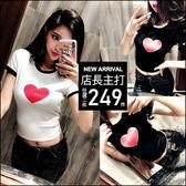 克妹Ke-Mei【AT46249】歐美時尚感愛心字母撞色修身T恤上衣