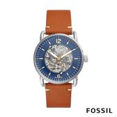FOSSIL COMMUTER 透視機械錶-藍x焦糖 42mm