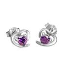 925純銀 愛心心型 天然紫水晶 耳環耳釘針-銀 防抗過敏