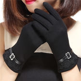 【全館】現折200新款蕾絲金屬扣戶外手套女加絨保暖修手中秋佳節