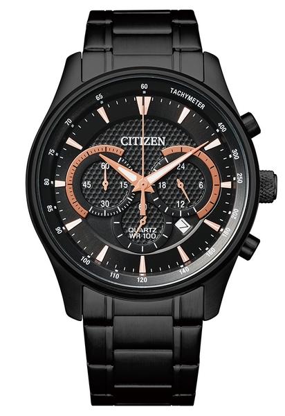 42mm【分期0利率】星辰錶 CITIZEN 石英錶 全黑 三眼計時 全新原廠公司貨 AN8195-58E