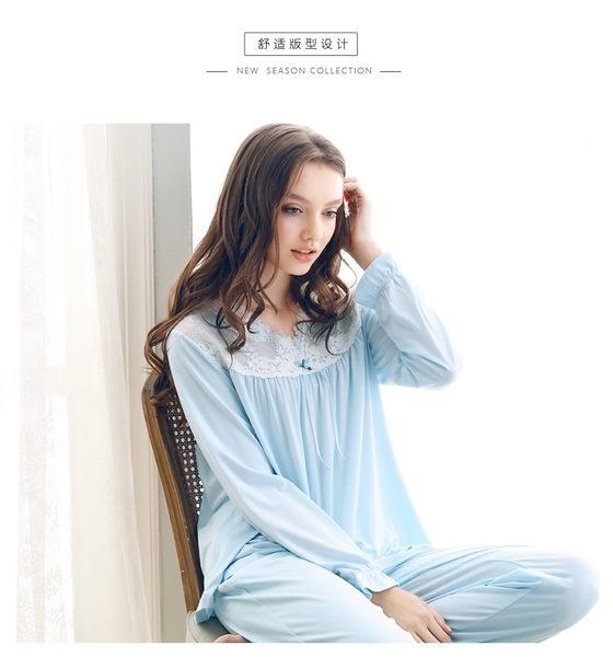 春夏裝薄款蕾絲花邊公主風莫代爾棉居家女秋季睡衣套裝-swe004