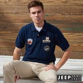 【JEEP】時尚美式貼布素面短袖POLO衫 (藍)