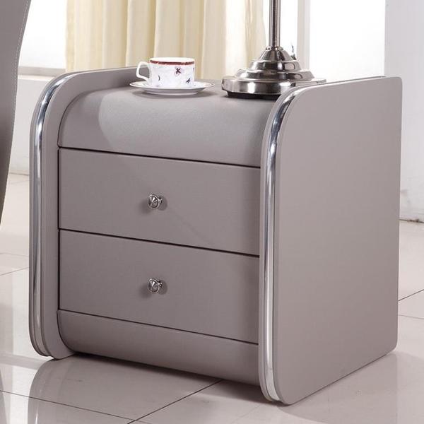 床頭櫃 瑪蘭珊現代床頭櫃簡約儲物櫃整裝皮床頭櫃收納櫃歐式床邊小床頭櫃 尾牙交換禮物
