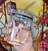 玻璃杯帶吸管卡通動物馬克杯有蓋子刻度早餐杯咖啡奶茶杯【匯美優品】