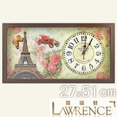 【Lawrence羅蘭絲】夢幻之旅木框(玻璃面板)復古時鐘(27x51cm) 鄉村歐美 壁掛掛鐘 居家佈置 裝飾畫