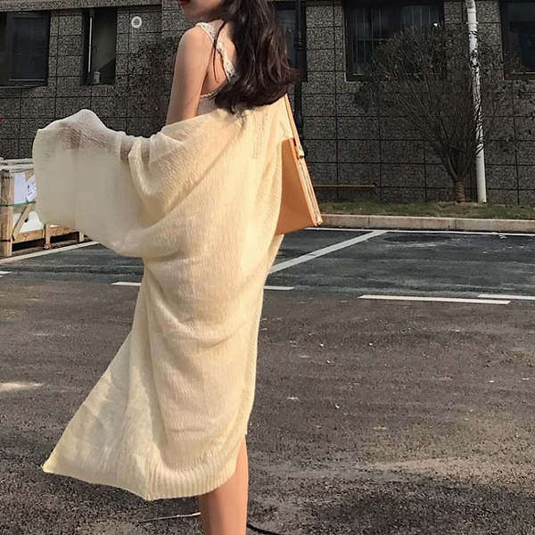 [超豐國際]夏季慵懶風百搭溫柔蟬絲般柔軟防曬衫針織開衫外套女1入