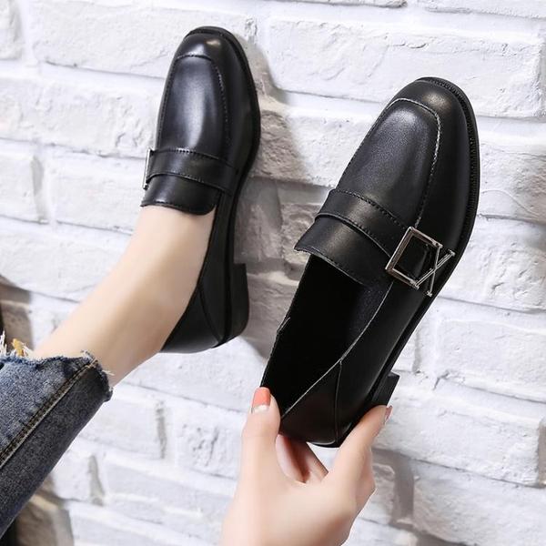 ins黑色小皮鞋女英倫風春季新款百搭平底單鞋樂福豆 快速出貨