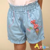 Azio 女童 短褲 立體格紋蝴蝶結櫻桃冰淇淋刺繡牛仔短褲(藍) Azio Kids 美國派 童裝