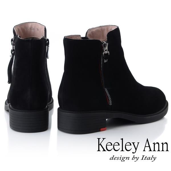 ★2018秋冬★Keeley Ann率性街頭~百搭素面側邊拉鏈短靴(黑色) -Ann系列